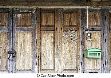 門, 摺疊, 裝飾品, 傳統, 木頭, 老, 泰國, 面板