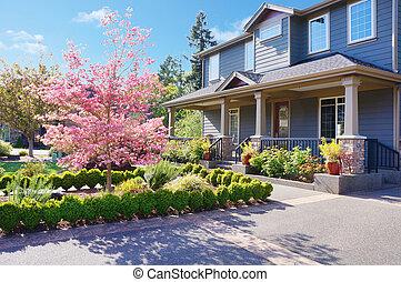 開花, 房子, 春天, 灰色, 豪華, 大, 樹。