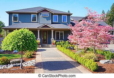 開花, 房子, lareg, 春天, 灰色, 豪華, 樹。