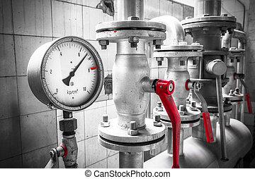 閥門, 工業, 細節, 壓力表, 管子