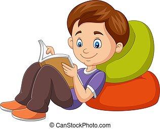閱讀, 卡通, 書, 男孩