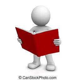 閱讀, 字, 書, 3d