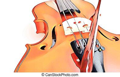 關閉, 小提琴弓