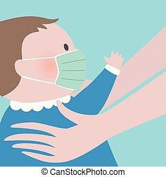 關閉, 綠色, 保護, 舉起, 面罩, 手, 臉, 嬰孩, 婦女