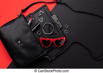 附件, 雙, 袋子, 位置, 背景, 看法, 黑色, 套間, 紅色, 打開頂