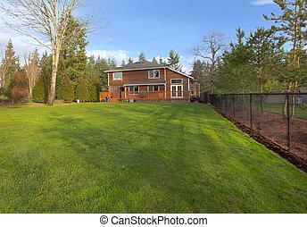 院子, 房子, 大, 木頭, 綠色, 雪松, 草