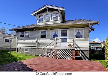 院子, 房子, 灰色, 背, 小, 老, 迷人, exterior.