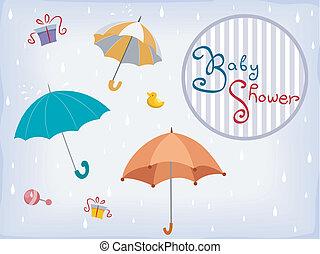 陣雨, 2, 設計, 邀請, 嬰孩, 卡片