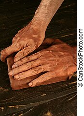 陶器, 手, 工作, 波特, craftmanship, 黏土