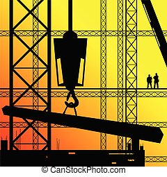 陽光, 工作, 工人, 插圖, 建設, 監督