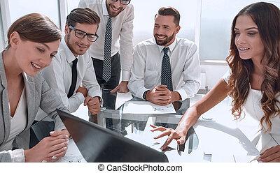 隊, 業務會議, 工作, 膝上型, 使用