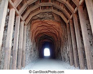 隧道, 梁, 透過, 向上, 握住, 訓練, 木頭, 山, 做, 通行證