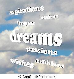 雄心, -, 天空, 詞, 激情, 希望, 夢想