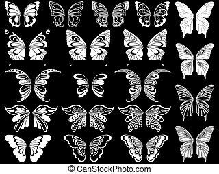 集合, 二十, 在上方, 蝴蝶, 黑色, 白色