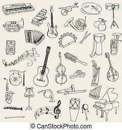 集合, 儀器, -, 手, 矢量, 音樂, 畫