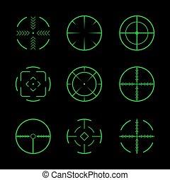 集合, 十字准線, icons., 目標