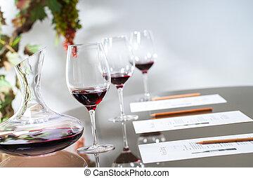 集合, 品嘗, glasses., 細頸盛水瓶, 桌子, 酒