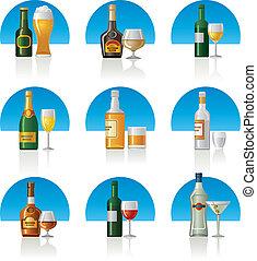 集合, 喝, 酒精, 圖象
