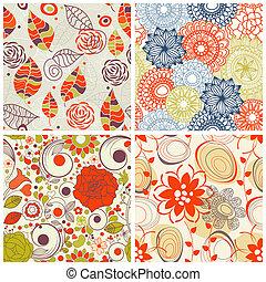 集合, 圖案, seamless, 植物, 顏色, 時髦