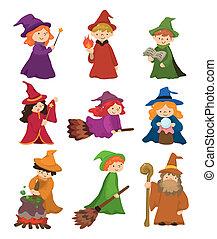 集合, 圖象, 巫術師, 巫婆, 卡通