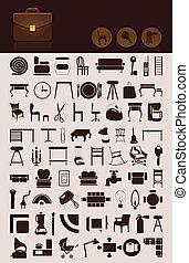 集合, 圖象, 房子, theme., 插圖, 矢量