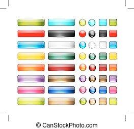 集合, 圖象, 按鈕, 設計, 有光澤, 你