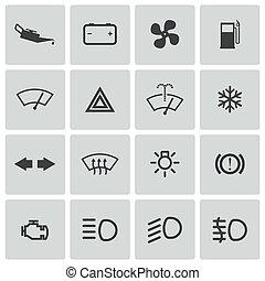集合, 圖象, 汽車, 矢量, 儀表板, balck