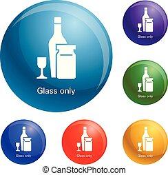 集合, 圖象, 玻璃, 矢量, 瓶子, 酒