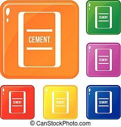 集合, 圖象, 顏色, 水泥, 一, 袋子, 矢量