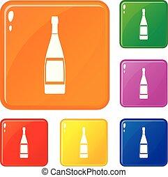 集合, 圖象, 顏色, 玻璃, 矢量, 瓶子