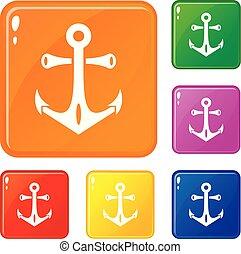 集合, 圖象, 顏色, 矢量, 船舶, 錨