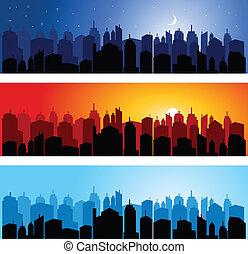 集合, 地平線, 城市