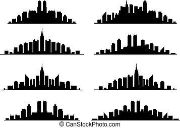 集合, 地平線, 矢量, 城市, 圖表