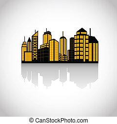 集合, 城市, 黑色半面畫像