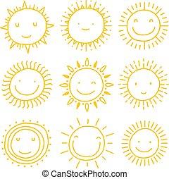 集合, 太陽, icons., 矢量, 彙整, 太陽
