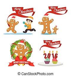 集合, 姜, cristmas, 卡通
