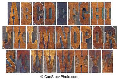 集合, 字母表, 法語, clarendon, 木頭, 類型
