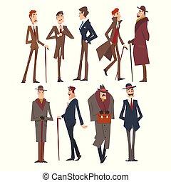 集合, 字符, 充滿信心, 成功, 自己, 人, 插圖, 衣服, 各位先生, 雅致, victorian, 矢量, 富有