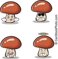 集合, 字, 彙整, 蘑菇, 卡通