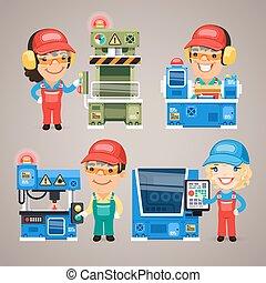 集合, 工作, 工人, 工廠, 卡通, 機器