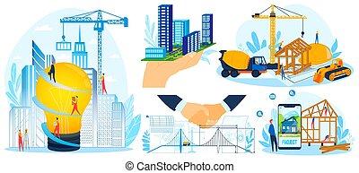 集合, 插圖, 工人, 項目, 套間, 房子, 設計, 建造, 建築物, 人們, 現代, 矢量, 建立, 建設, 卡通, 建造者, 微小