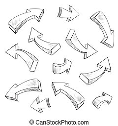 集合, 插圖, sketchy, 矢量, 設計, 箭, 元素, 3d