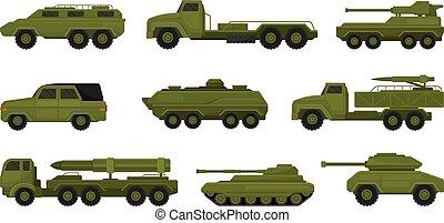 集合, 插圖, vehicles., 白色, 軍事, 背景。, 矢量