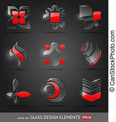 集合, 摘要, -, 玻璃, 矢量, 設計元素