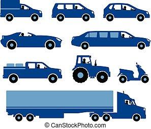 集合, 汽車, silhouettes.