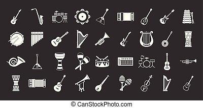 集合, 灰色, 儀器, 矢量, 音樂, 圖象