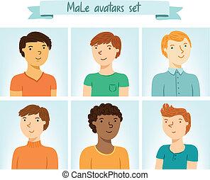 集合, 男性, avatars, 字符, 6