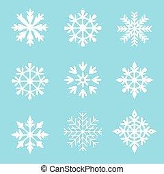 集合, 白色, 雪花, 藍色, 矢量, 背景。