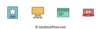 集合, 矢量, 星, 名聲, 座位, 膝上型, 好萊塢, 電影, 鈴舌, icon., 8k, 電影院, 步行, 觀眾席