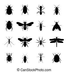 集合, 矢量, 黑色, 黑色半面畫像, 昆虫, 插圖
